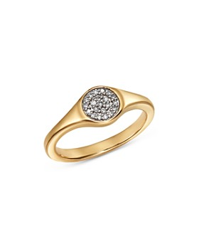 Adina Reyter - 14K Yellow Gold Pavé Diamond Disc Small Signet Ring