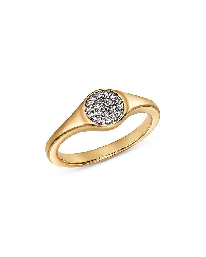 Adina Reyter - 14K Yellow Gold Pavé Diamond Disc Small Signet Ring