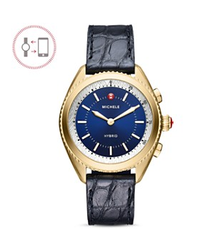 MICHELE - Navy Alligator & Silicone Strap Hybrid Smartwatch, 38mm