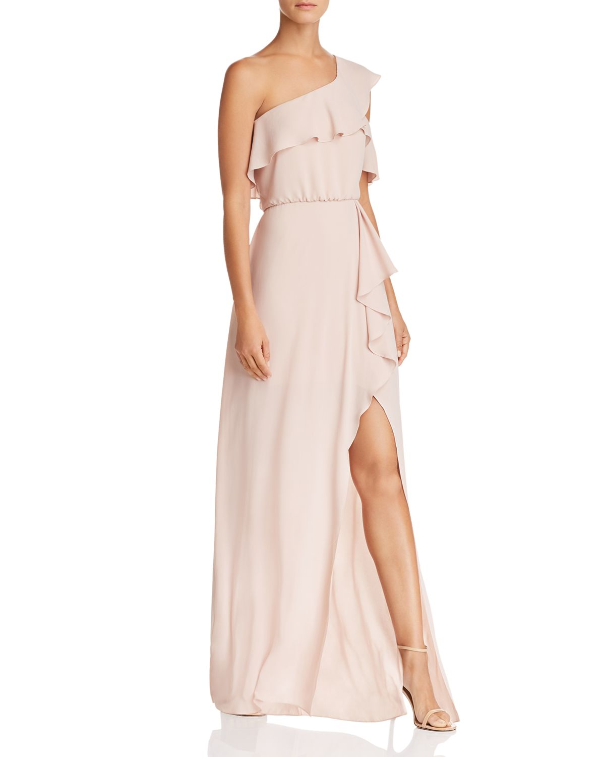 One Shoulder Ruffle Trim Gown   100 Percents Exclusive by Bcbgmaxazria