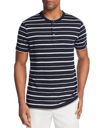 Theory - Essential Striped Short Sleeve Henley - 100% Exclusive
