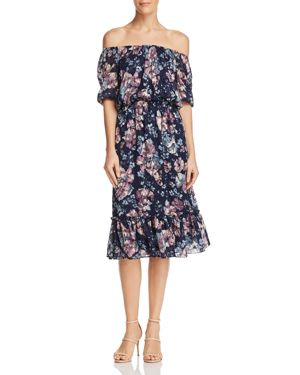 ADRIANNA PAPELL Floral Burnout Off The Shoulder Blouson Dress, Navy Multi