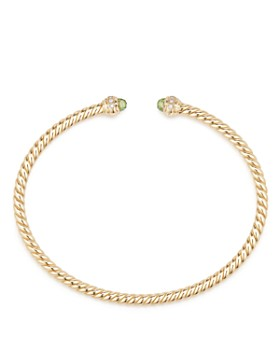 David Yurman - Cable Spira Bracelet in 18K Gold with Peridot & Diamonds