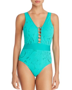 Athena All Dressed Up Plunge Front One Piece Swimsuit