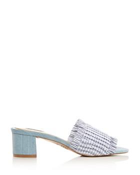 JAGGAR - Women's Smocked Stripe & Denim Block Heel Slide Sandals