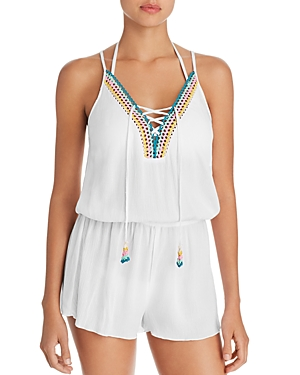 Isabella Rose Pool Party Lace Up Romper Swim Cover-Up