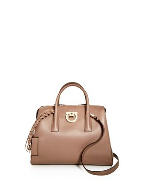 STUDIO CALFSKIN LEATHER TOP HANDLE TOTE - BEIGE