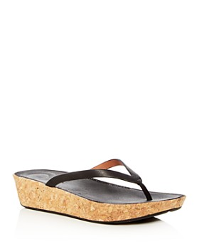 FitFlop - Women's Linny Leather Wedge Flip-Flps