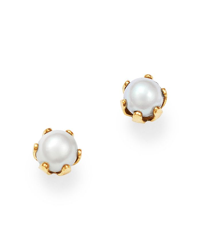 Bloomingdale's - Cultured Freshwater Pearl Stud Earrings in 14K Yellow Gold, 3mm - 100% Exclusive