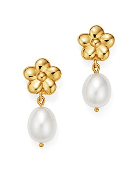 Bloomingdale's - Cultured Freshwater Pearl & Flower Drop Earrings in 14K Yellow Gold - 100% Exclusive