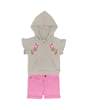 Hudson Girls Embroidered Hoodie  Cuffed Shorts Set  Baby