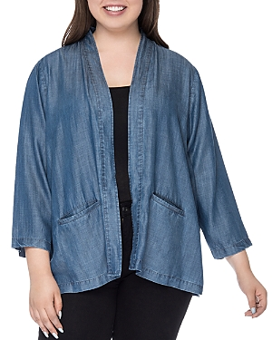 New B Collection by Bobeau Curvy Hilary Chambray Open Jacket, Medium Wash Blue