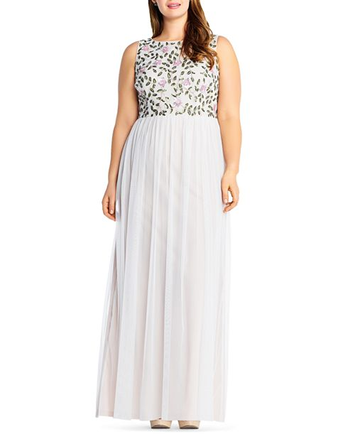 Adrianna Papell Plus - Beaded Layered-Look Gown