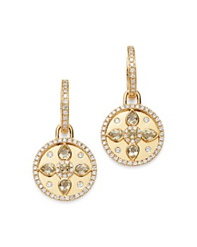 Kiki McDonough - 18K Yellow Gold Jemima Lemon Quartz & Diamond Drop Earrings