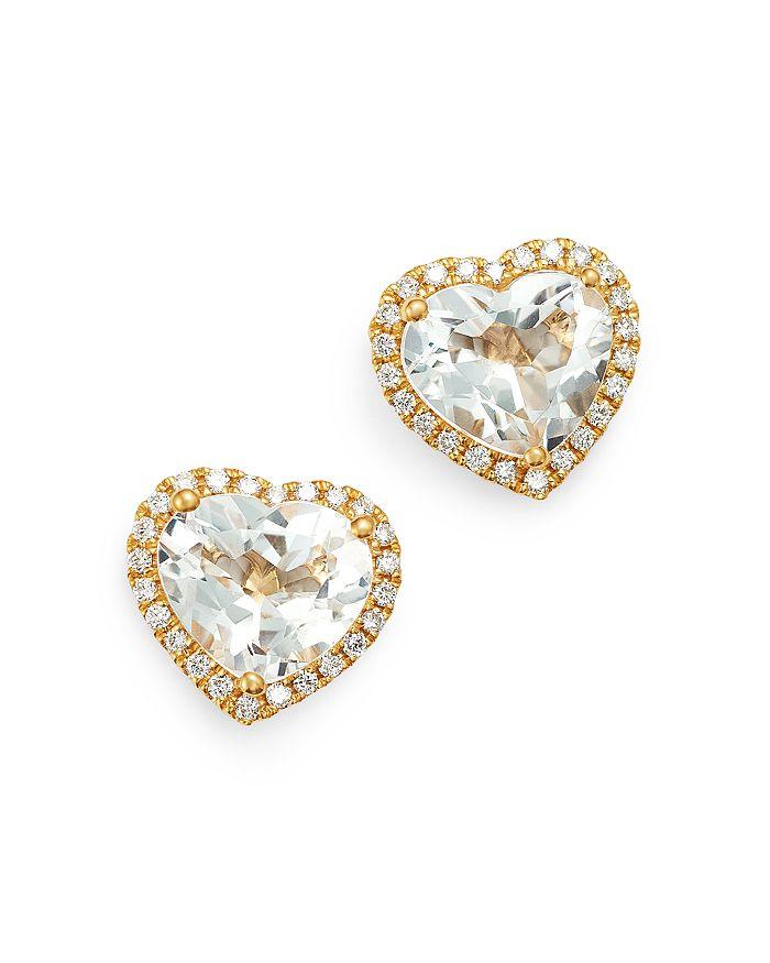 Kiki McDonough - 18K Yellow Gold Grace White Topaz & Diamond Heart Earrings