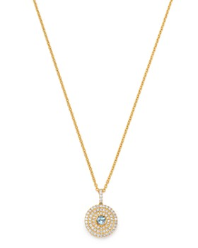 Kiki McDonough - 18K Yellow Gold Fantasy Blue Topaz & Diamond Pendant Necklace, 18""