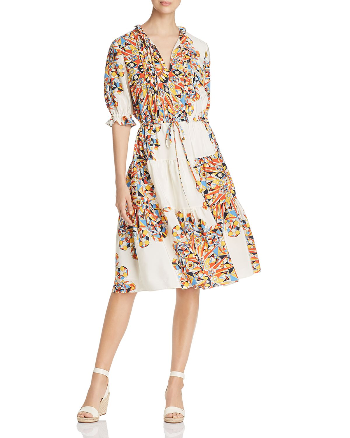 Arabella Printed Silk Ruffle Dress by Tory Burch