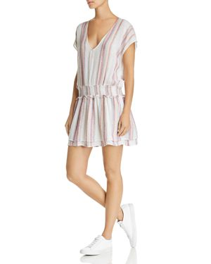 Lucca Striped Drop-Waist Tunic Dress, Red/White