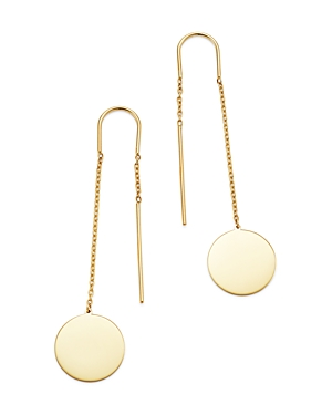 Moon & Meadow Disc Drop Threader Earrings in 14K Yellow Gold - 100% Exclusive