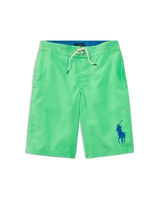 Polo Ralph Lauren Boys Solid Big Pony Swim Trunks Big Kid