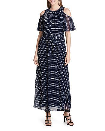 Calvin Klein - Dot-Print Cold-Shoulder Maxi Dress
