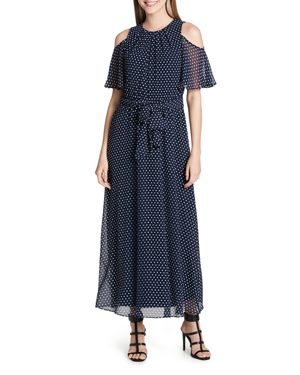 Calvin Klein Dot-Print Cold-Shoulder Maxi Dress 2899553