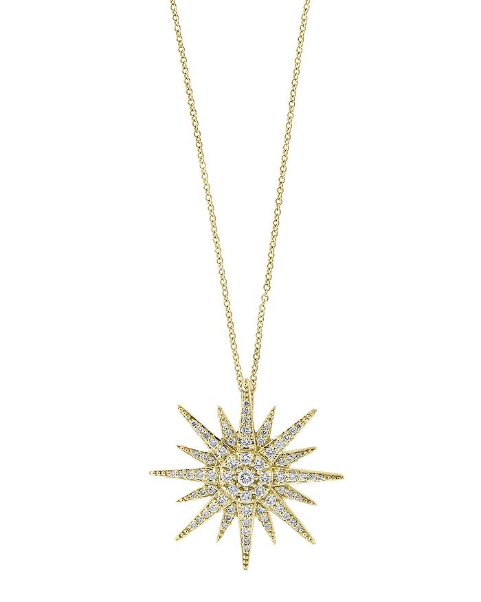 Bloomingdale's - Diamond Starburst Pendant Necklace in 14K Yellow Gold, 0.45 ct. t.w. - 100% Exclusive