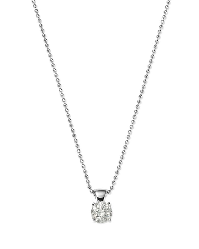 Bloomingdale's - Diamond Solitaire Pendant in 18K White Gold, 0.50-1.0. ct. t.w. - 100% Exclusive
