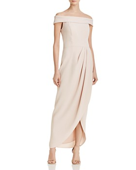 AQUA - Off-the-Shoulder Draped Crepe Gown - 100% Exclusive