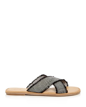 TOMS - Women's Viv Linen Chambray Fringe Crisscross Slide Sandals