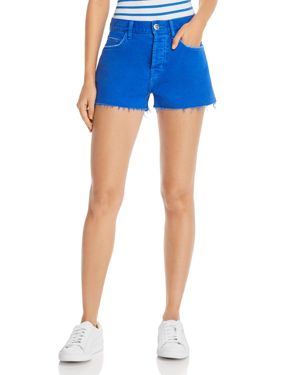 Current/Elliott The Boyfriend Raw-Edge Denim Shorts In Nautical Blue in Bright Blue