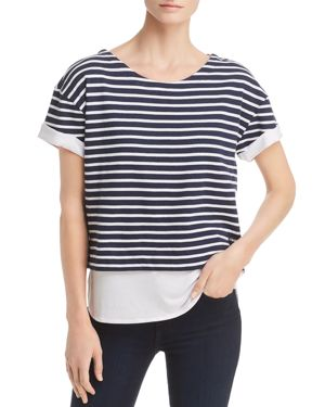 Performance Layered-Look Striped Top, Midnight / White Stripe