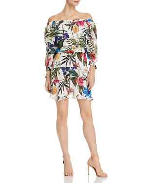 Alexis Off-The-Shoulder Floral Dress, White Sardinia