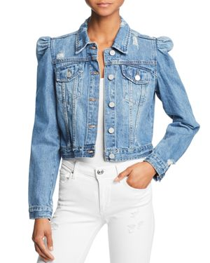 PUFF-SLEEVE CROPPED DENIM JACKET