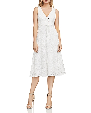 Bcbgmaxazria Evanna Lace-Up Embroidered Lace Dress
