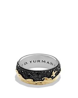 David Yurman - Waves Band Ring with 18K Gold & Black Diamonds