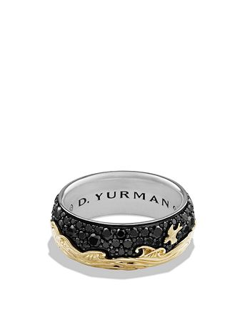 David Yurman - Waves Band Ring with 18K Gold & Black Diamonds