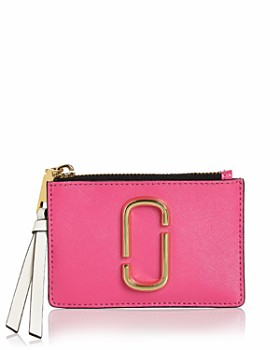 marc jacobs top zip leather multi card case - Business Card Holder For Women