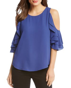 COLD-SHOULDER RUFFLE-SLEEVE TOP