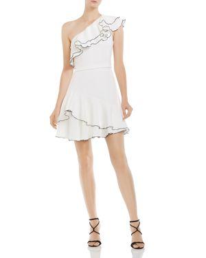 Halston Heritage Ruffled Asymmetric One-Shoulder Dress 2941510
