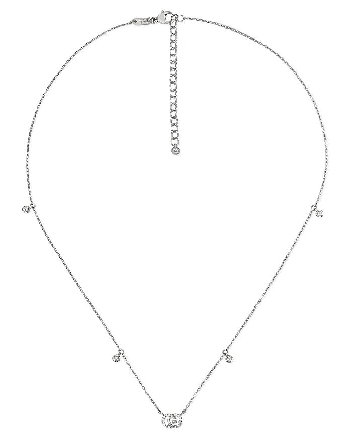 "Gucci - 18K White Gold GG Running Chain Diamond Necklace, 14.5"""