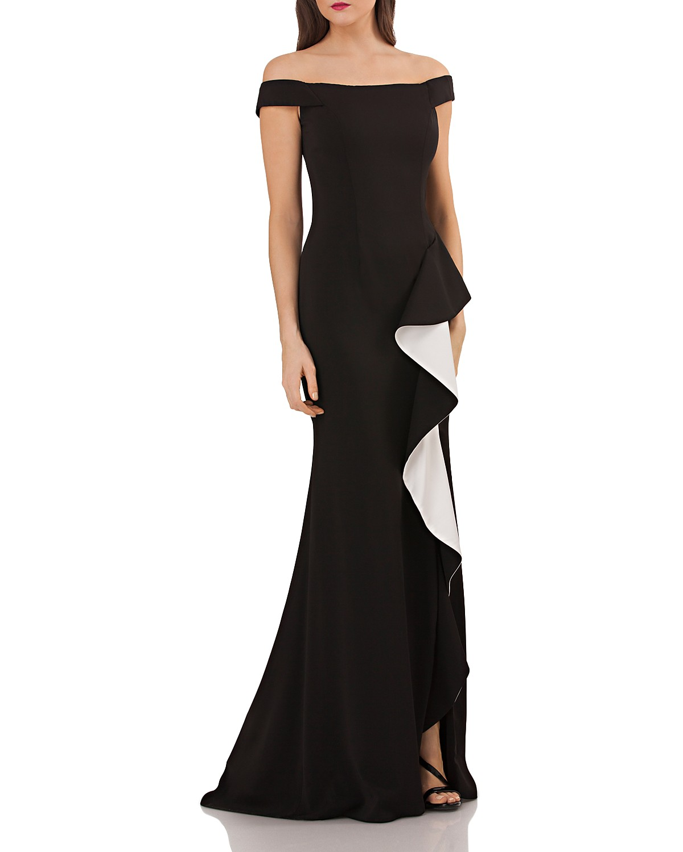 Carmen Marc Valvo Off-the-Shoulder Gown | Bloomingdale\'s