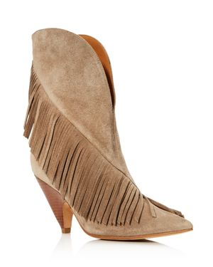 Women'S Giliana Suede Fringe Western Booties, Taupe