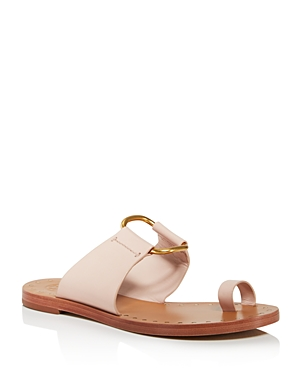 b0d36fe49 Tory Burch Brannan Flat Studded Leather Slide Sandal In Sea Shell Pink