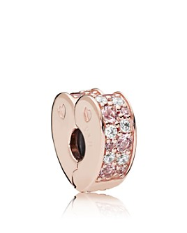 Pandora - Rose Gold-Tone Sterling Silver & Cubic Zirconia Arcs of Love Clip
