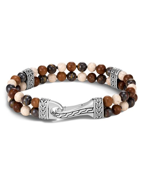 JOHN HARDY - Sterling Silver Classic Chain Tiger Iron, Riverstone & Kokka Wood Bead Bracelet