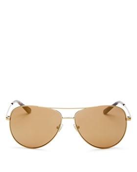 Tory Burch - Women's Mirrored Polarized Brow Bar Aviator Sunglasses, 59mm