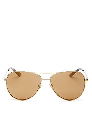 e53e00a01660 Tory Burch Women S Mirrored Polarized Brow Bar Aviator Sunglasses ...