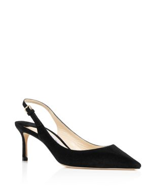 Women'S Erin 60 Suede Slingback Mid Heel Pumps in Black