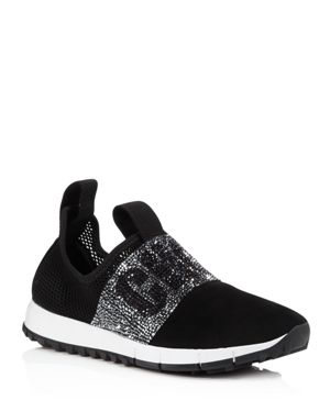 Oakland/F Black Mesh And Suede Trainers With Crystal Detailing